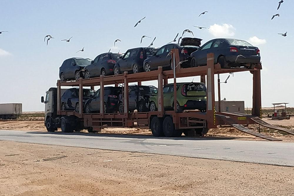 Cars being transported along the coastal road