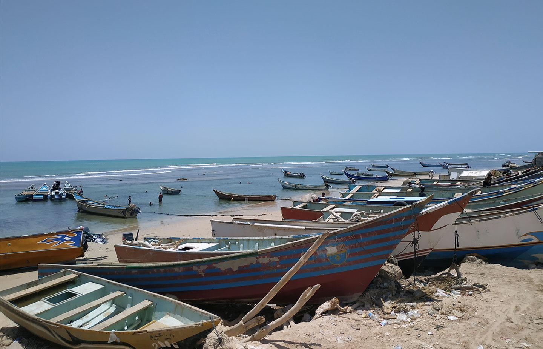 Local fishermen's boats docked near Ghayda's fish market